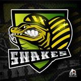 Visage de reptile dans le profil avec les dents dénudées Logo pour toute équipe de sport illustration libre de droits
