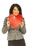 Visage de reste de femme d'affaires au coeur Photo stock