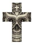 Visage de smiley de croix d'Art Skull Photos libres de droits