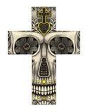 Visage de smiley de croix d'Art Skull Photographie stock libre de droits