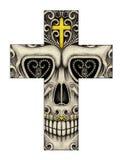Visage de smiley de croix d'Art Skull Photographie stock