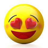 Visage de sourire avec des yeux de coeur et des joues roses illustration 3D Photos stock