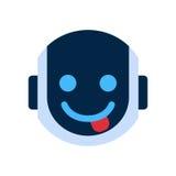 Visage de sourire d'icône de visage de robot montrant à émotion de langue Emoji robotique illustration libre de droits