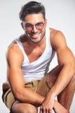 Visage de sourire d'un homme Photo stock