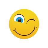 Visage de sourire jaune de bande dessinée clignant de l'oeil l'icône positive d'émotion de personnes illustration libre de droits