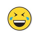 Visage de sourire jaune riant l'icône positive d'émotion de personnes illustration stock