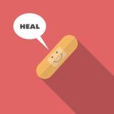 Visage de sourire médical sur le bandage photos stock