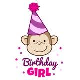 Visage de sourire mignon de singe dans le chapeau de partie Photographie stock libre de droits