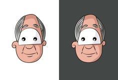 Visage de vieil homme avec le visage gris de cheveux Image libre de droits