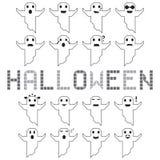 Visage différent réglé de vecteur de fantôme de Halloween Image stock