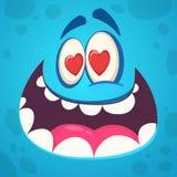 Visage drôle de monstre de bande dessinée dans l'amour Illustration de vecteur Conception pour le jour du ` s de St Valentine photographie stock