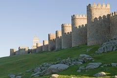 Visage du nord des murs d'Avila. Images libres de droits