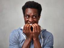 Visage effrayé d'homme de couleur images libres de droits
