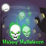 Visage effrayant de Halloween de crâne de tête humaine de bannière heureuse de Ghost illustration stock