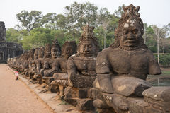 Visage en pierre à Angkor Thom Siem Reap, Cambodge Photographie stock libre de droits