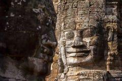 Visage en pierre antique de temple de Bayon Photos stock
