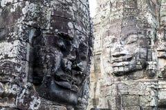 Visage en pierre de plan rapproché de temple de Bayon de prasat Photos libres de droits