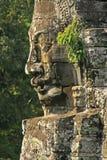 Visage en pierre de temple de Bayon, région d'Angkor Image libre de droits