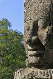 Visage en pierre de temple de Bayon, région d'Angkor, Siem Reap Photo libre de droits