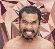 Visage fâché d'homme dans le style triangulaire Photo stock