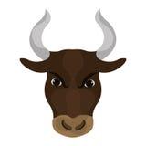 Visage fâché de taureau avec de grands klaxons Image libre de droits