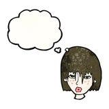 visage femelle de bande dessinée avec la bulle de pensée Photos libres de droits