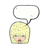 visage femelle de bande dessinée regardant fixement avec la bulle de la parole Photo libre de droits