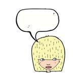 visage femelle de bande dessinée regardant fixement avec la bulle de la parole Photos libres de droits