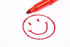 Visage heureux avec le crayon Image libre de droits