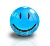 Visage heureux bleu du smiley 3D Photographie stock