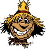 Visage heureux d'épouvantail avec le chapeau de paille illustration de vecteur