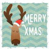 Visage heureux de cerfs communs de Noël Caractère drôle de bande dessinée Style graphique Noël et la nouvelle année Photos stock