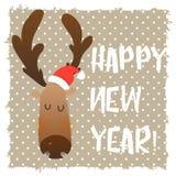 Visage heureux de cerfs communs de Noël Caractère drôle de bande dessinée Style graphique Noël et la nouvelle année Image stock