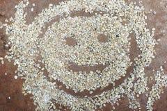 Visage heureux dessiné avec des garins de blé Photo libre de droits