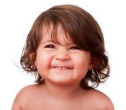 Visage heureux drôle d'enfant en bas âge de chéri Photographie stock libre de droits