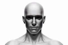 Visage humain générique d'homme, vue de face futuriste illustration de vecteur