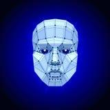 Visage humain polygonal sur l'obscurité Visage futuriste de l'abrégé sur 3D concept par des formes illustration libre de droits