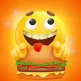 Visage jaune souriant d'emoji de bande dessinée d'émoticône avec l'hamburger illustration de vecteur