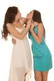 Visage kissy de deux robes de femmes photo libre de droits