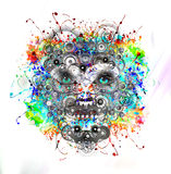 Visage lumineux de robot de couleurs Photo stock