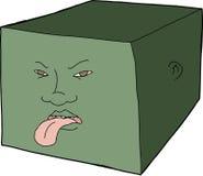 Visage malheureux sur le cube Images libres de droits