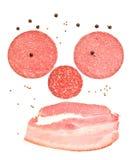 Visage malsain de cholestérol avec le sourire — tranches de jambon et de saus Photo stock