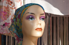 Visage of mannequin with scarf Stock Images