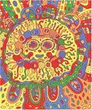 Visage maya Adultes colorés de griffonnage avec le Maya Photo stock