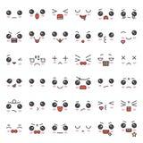 Visage mignon d'émotion dans le divers expession, ensemble editable d'icône de course illustration libre de droits