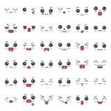Visage mignon d'émotion dans le divers expession, ensemble editable d'icône de course illustration stock