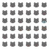 Visage mignon d'émotion de chat dans le divers expession, ligne editable icône illustration de vecteur