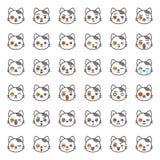 Visage mignon d'émotion de chat dans le divers expession, ligne editable icône illustration libre de droits