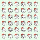 Visage mignon d'émotion de chat de Santa dans le divers expession, ligne editable icône illustration stock