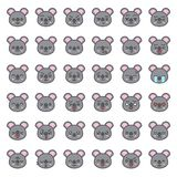 Visage mignon d'émotion de koala dans le divers expession, ligne editable icône illustration libre de droits